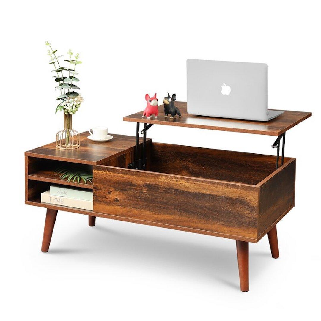 Lift top extendable coffee table