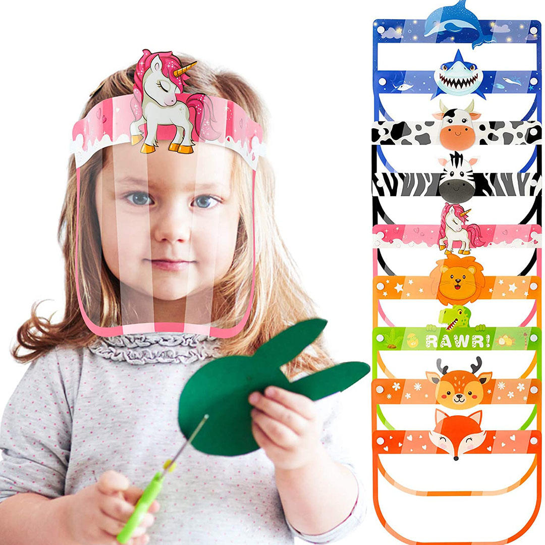 9-Pack Kids' Safety Face Shields Fully Wrap-Around Protection Breathable Covering Clear Visor Cartoon Animals Reusable Lightweight High-Transparency Elastic Headband Pad Comfortable Fit for Boys Girls