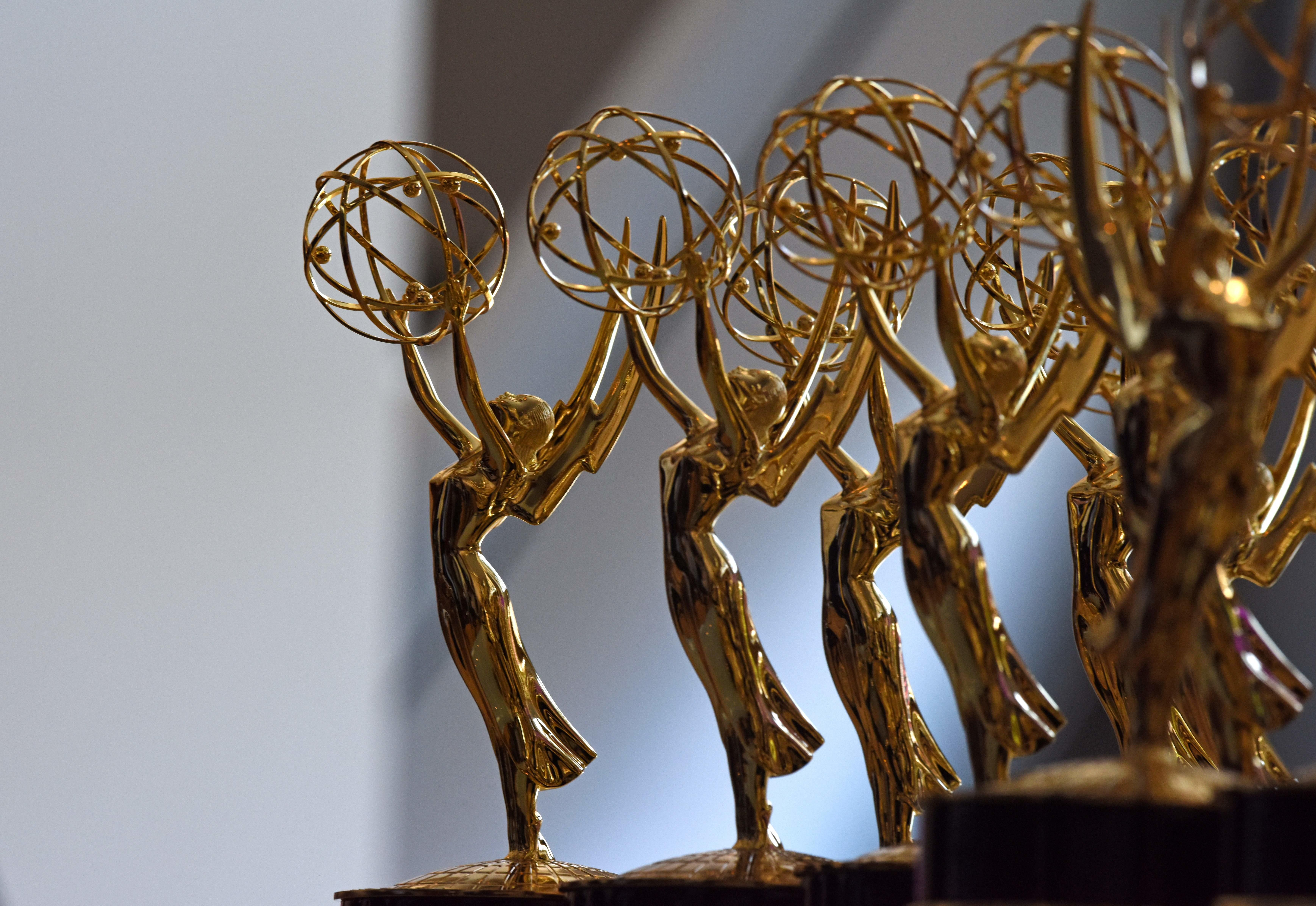 Emmy statues are seen before the 70th Emmy Awards
