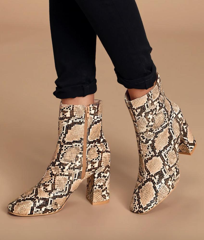My Generation tan snake high-heel mid-calf boots