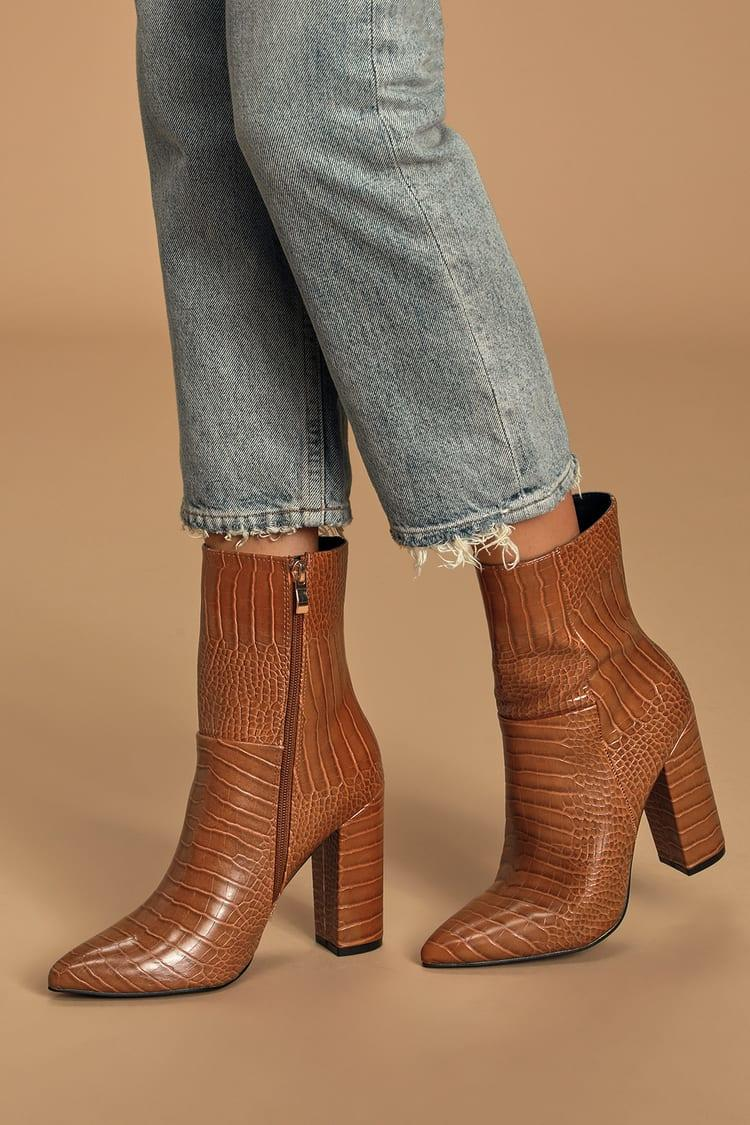 Tan crocodile pointed-toe mid calf boots