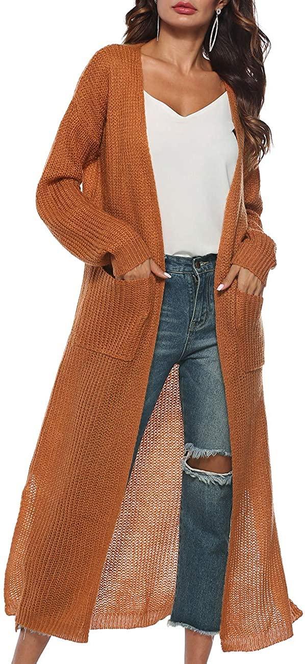 Extra long knit cardigan