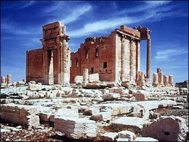 The ruins of the Temple of Bel, in the ancient city of Palmyra, Syria