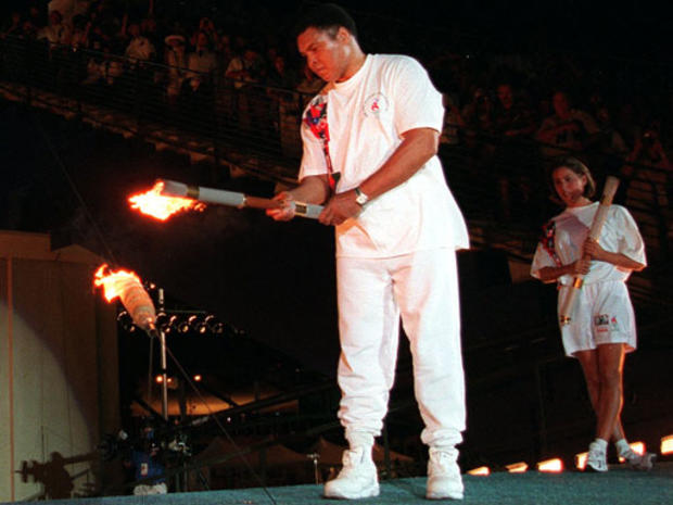 Muhammad Ali lights the Olympic flame