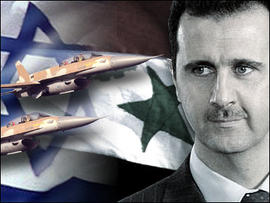 Israeli Warplanes over flags of Syria and Israel with Syrian President Bashar Assad