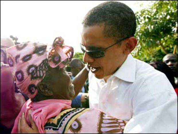 Then Sen. Barack Obama meets his grandmother Sarah Hussein Obama at his father's house in Nyongoma Kogelo village, western Kenya in this August 26, 2006 file photo.