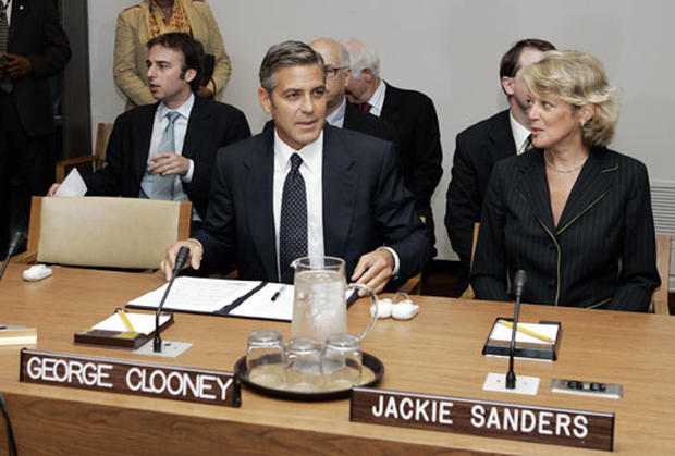 george clooney's address to the un Nick clooney and george clooney - nick clooney, nina bruce clooney and their son new york city, usa - new un messenger of peace, george clooney, arrive at a news conference marking his designation.