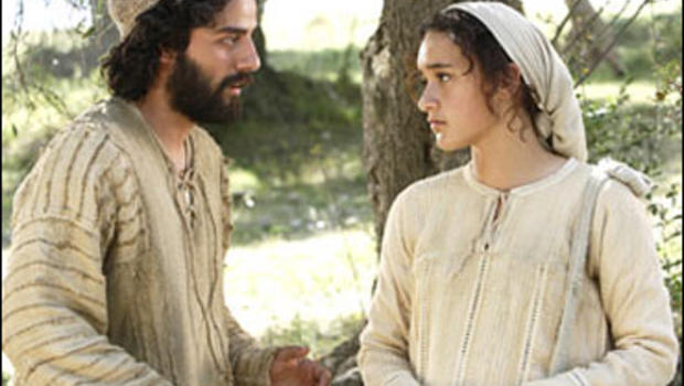 Keisha Castle-Hughes as Mary, and Oscar Isaac as Joseph
