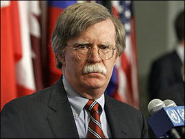 John Bolton, U.S. United Nations Ambassador gives a press briefing after a meeting on North Korea at the United Nations Security Council