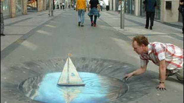 3-D sidewalk chalk drawing by Julian Beever