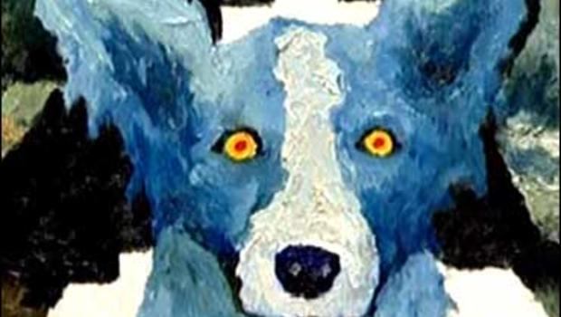 """One of George Rodrigue's """"Blue Dog"""" paintings"""