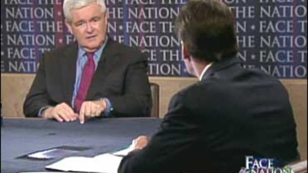 "Former House Speaker Newt Gingrich with Chip Reid on ""Face The Nation."""
