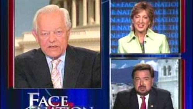 """Carly Fiorina and Gov. Bill Richardson, with Bob Schieffer on """"Face The Nation."""""""