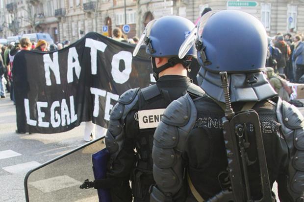 French Protest At NATO Summit