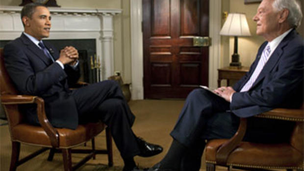 "President Barack Obama with ""Face the Nation"" host Bob Schieffer for an interview broadcast Sunday, September 20, 2009."