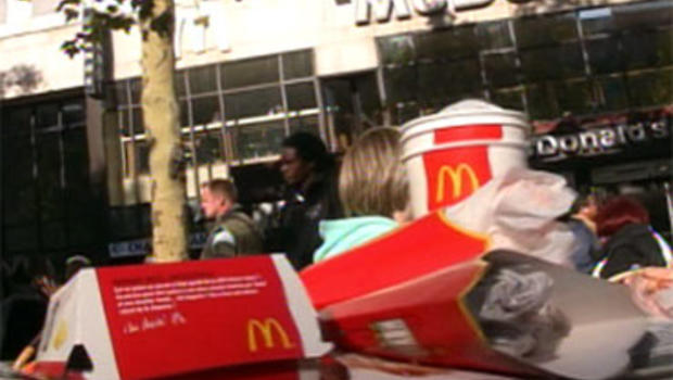 Trash from McDonald's customers in Paris.