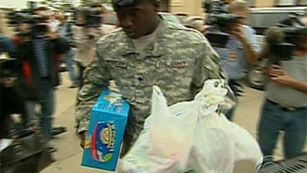 A soldier delivers care packages for the families of soldiers injured or killed in the Fort Hood attack, Nov. 8 2009