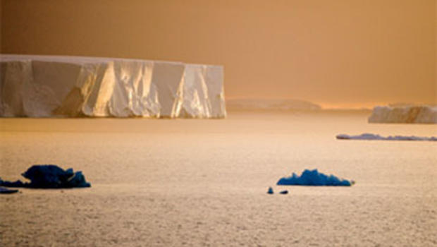 Icebergs which have broken off from an Antarctic ice shelf float off the South Shetland Islands.