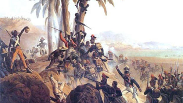 """""""Battle at San Domingo,"""" by the Polish artist January Suchodolski (1797-1875), depicting the slave revolt on the island of Hispaniola, which led to the creation of the republic of Haiti in 1804."""