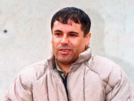 """In this June 10, 1993 file photo, Mexican drug lord Joaquin """"El Chapo"""" Guzman, is shown to the press after his arrest at the high security prison of Almoloya de Juarez, on the outskirts of Mexico City."""