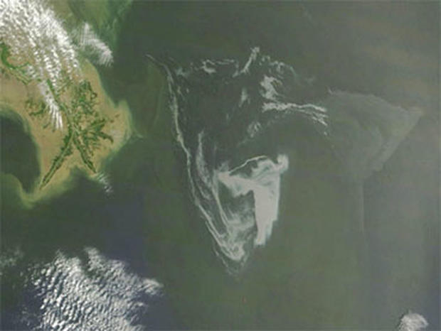 In this May 1, 2010 satellite photo provided by NASA, the oil slick in the Gulf of Mexico closes in on the Gulf Coast in the southern United States.