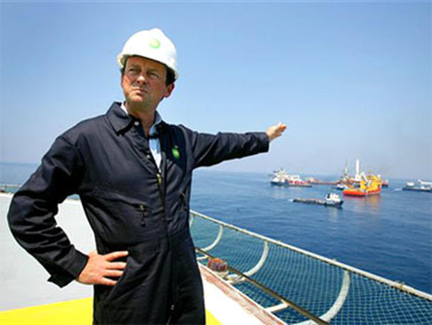In this May 28, 2010 photo, BP CEO Tony Hayward stands aboard the Discover Enterprise drill ship during recovery operations in the Gulf of Mexico, south of Venice, La. (AP Photo/Sean Gardner, Pool)