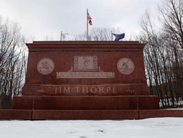 In this photo taken on Tuesday, Jan. 12, 2010, the tomb of Jim Thorpe is shown in Jim Thorpe, Pa. A son of Jim Thorpe is suing the Poconos town that bears his father's name over the remains of the Native American often called the 20th Century's greatest a