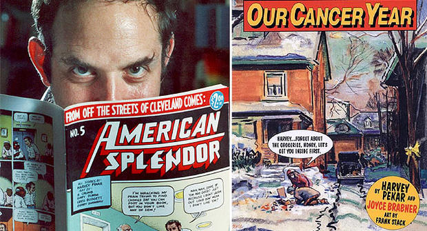 "Left: Harvey Pekar with his American Splendor graphic novel.  Right: ""Our Cancer Year."" (AP Photo/Mark Duncan/Harvey Pekar)"