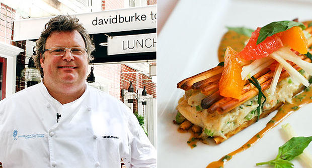 David Burke in front of David Burke Townhouse in New York City with a healthy remake of his pretzel crusted crab cake classic.