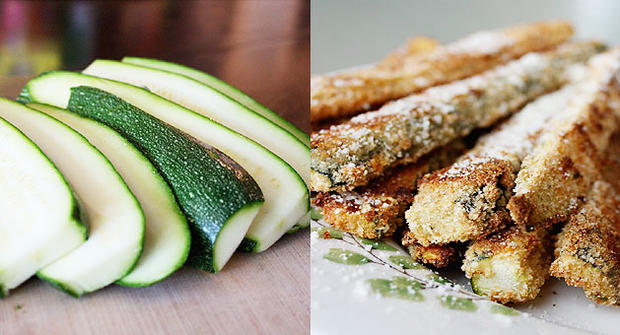 Healthy baked zucchini sticks by food blogger Aggie Goodman.
