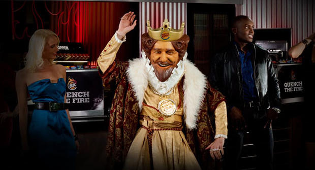 The king better keep dancing if he's going to work off the 2,500 calories NY Pizza Burger. (Burger King)