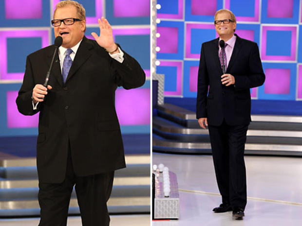 Drew Carey before and after his astonishing 80-pound weight loss.