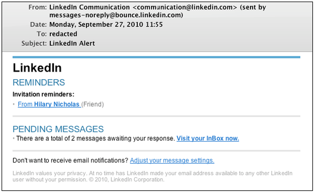This is what the fake LinkedIn e-mails looked like.