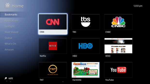 The Google TV home screen.