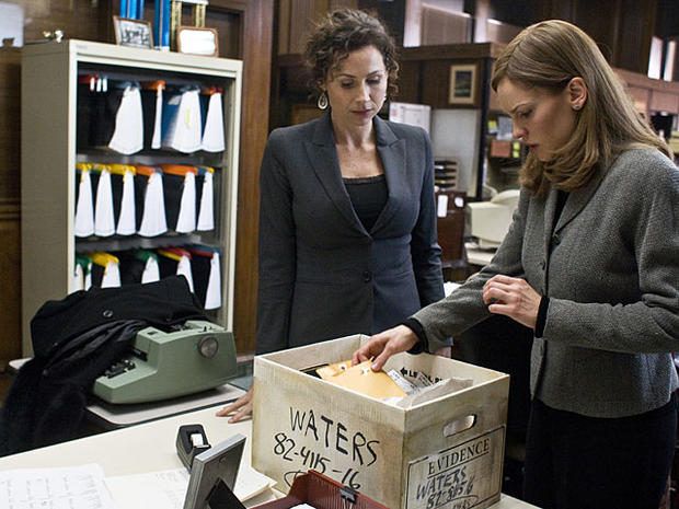 "Hilary Swank, right, and Minnie Driver are shown in a scene from, ""Conviction."" (AP Photo/Fox Searchlight Pictures, Ron Batzdorff)"