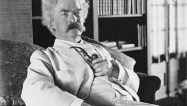 The American humorist Samuel Clemens, a.k.a. Mark Twain, photographed c. 1900-1910.