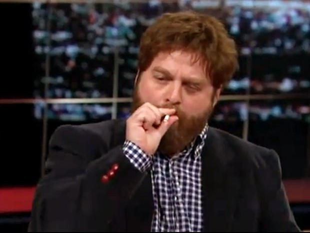 """The Hangover Actor Zach Galifianakis Smokes a Joint on """"Real Time with Bill Maher"""""""