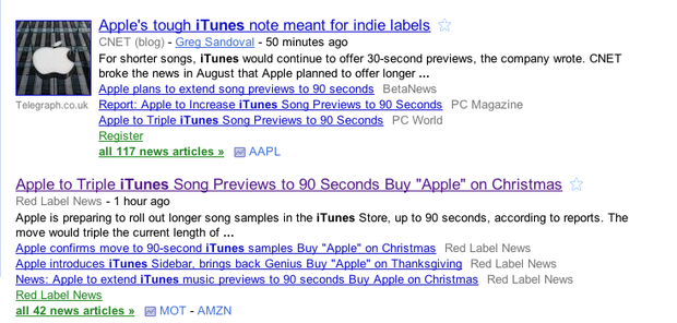 """Note the second cluster of stories produced by a Google News search for """"iTunes"""" yesterday afternoon. All of those Red Label News stories were basically the same: spammy SEO-keywords alongside Web ads."""