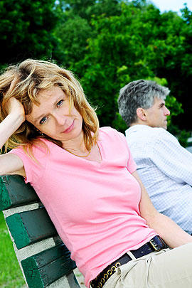 unhappy couple, sex, bench, outdoors, stockphoto, 4x3