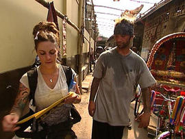 """Nick and Vicki, above, have a lot of ground  to cover  in next week's leg of """"The Amazing Race."""" (CBS Photo)"""