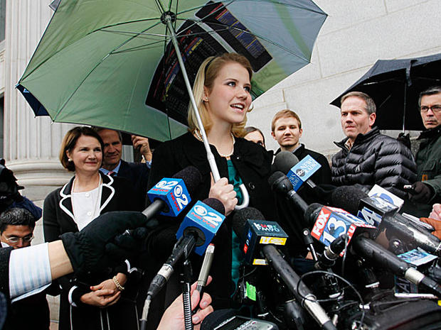 Elizabeth Smart addresses the media outside the federal court house Friday, Dec. 10 2010 in Salt Lake City.