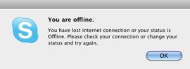 The message Skype displays after attempting to place a call.
