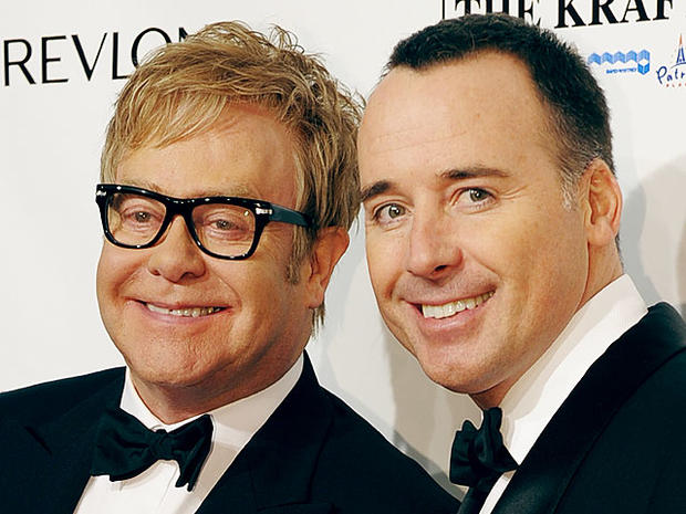 Elton John and husband David Furnish in New York, 2010.