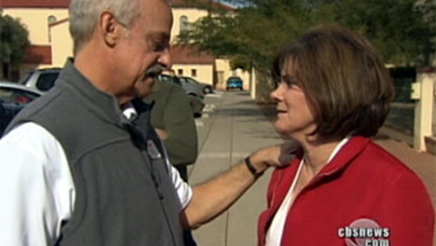 Bill Hileman and Nancy Bowman meet Jan. 10, 2011, three days after the shooting rampage in Tucson, Ariz.