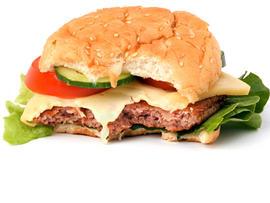 hamburger, half eaten, bite, cheeseburger, stock, 4x3