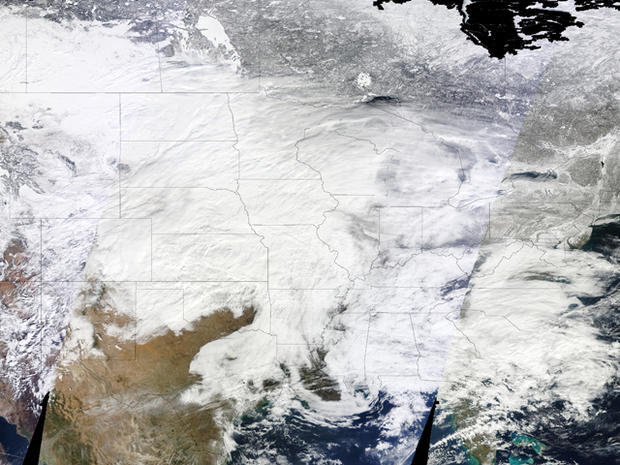 Massive Snowstorm Seen From Space