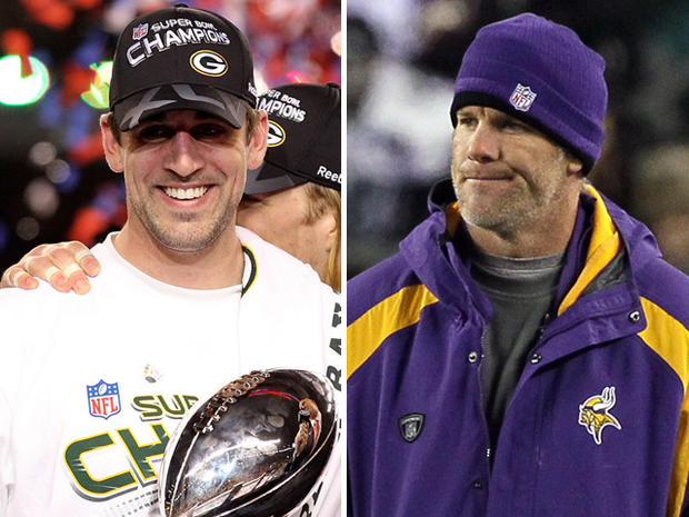 Aaron Rodgers and Bret Favre