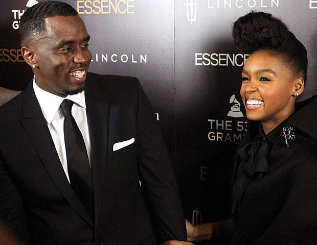 Recording artists Sean 'P. Diddy' Combs, left, congratulates  Janelle Monae, winner fo the second annual Essence 'Black Women in Music award, at the Playhouse Hollywood on Feb. 9, 2011, in Los Angeles.(Photo by Frederick M. Brown/Getty Images)