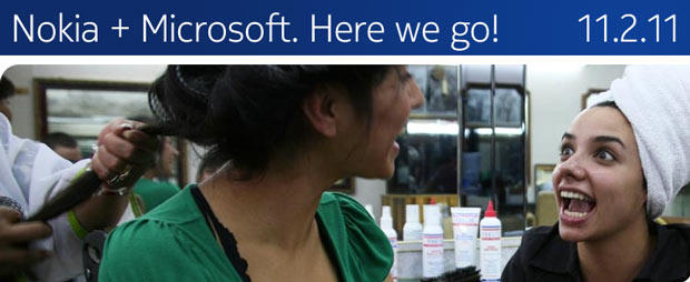 Nokia is touting its Microsoft alliance on its Web page.