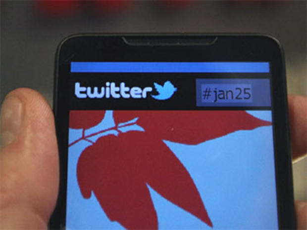 In this photo illustration a smartphone displays a page from Twitter on January 27, 2011 in Cairo, Egypt.